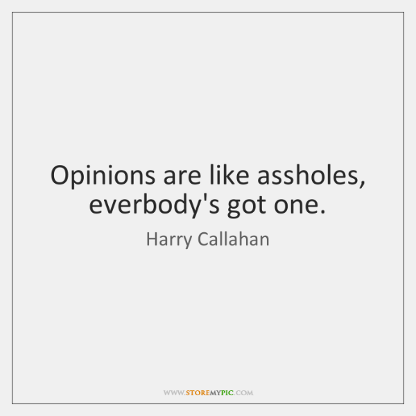 Opinions are like assholes, everbody's got one.