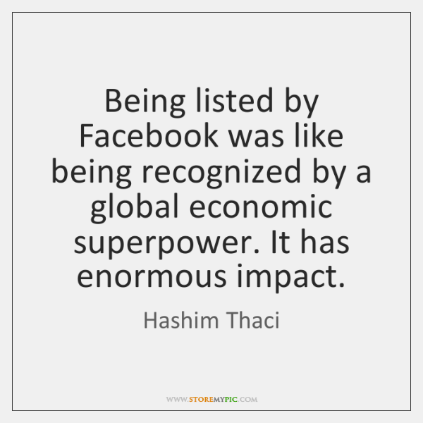 Being listed by Facebook was like being recognized by a global economic ...