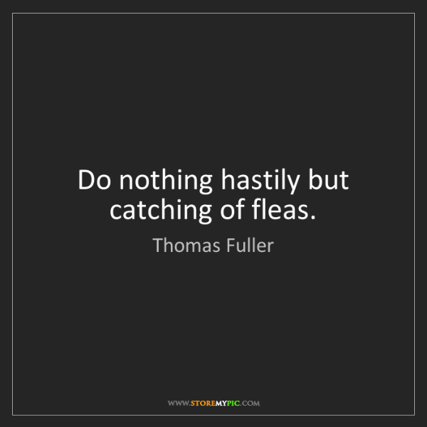 Thomas Fuller: Do nothing hastily but catching of fleas.