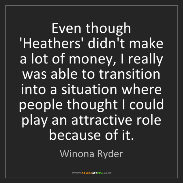Winona Ryder: Even though 'Heathers' didn't make a lot of money, I...