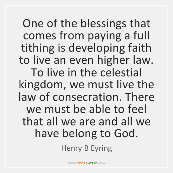 One of the blessings that comes from paying a full tithing is ...