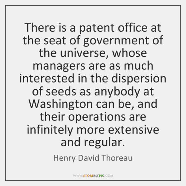 There is a patent office at the seat of government of the ...