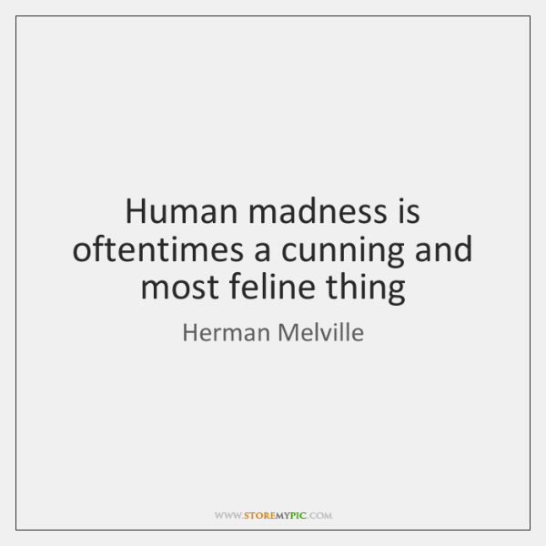 Human madness is oftentimes a cunning and most feline thing