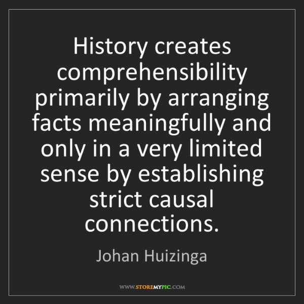 Johan Huizinga: History creates comprehensibility primarily by arranging...