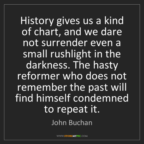 John Buchan: History gives us a kind of chart, and we dare not surrender...