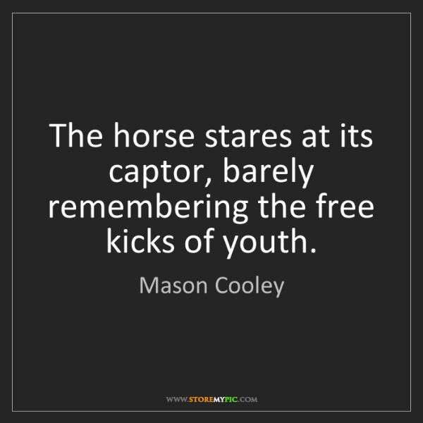 Mason Cooley: The horse stares at its captor, barely remembering the...