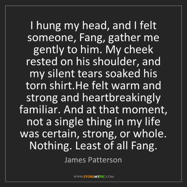 James Patterson: I hung my head, and I felt someone, Fang, gather me gently...