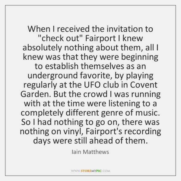 """When I received the invitation to """"check out"""" Fairport I knew absolutely ..."""