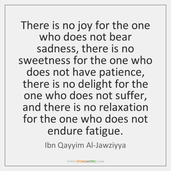 There is no joy for the one who does not bear sadness, ...