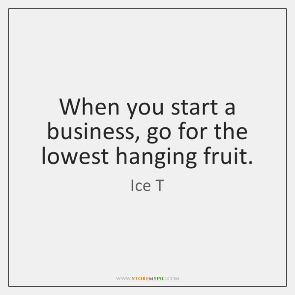 When you start a business, go for the lowest hanging fruit.