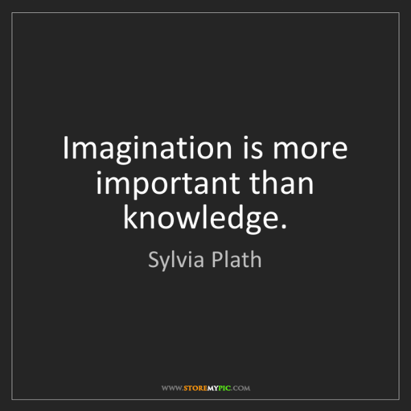Sylvia Plath: Imagination is more important than knowledge.