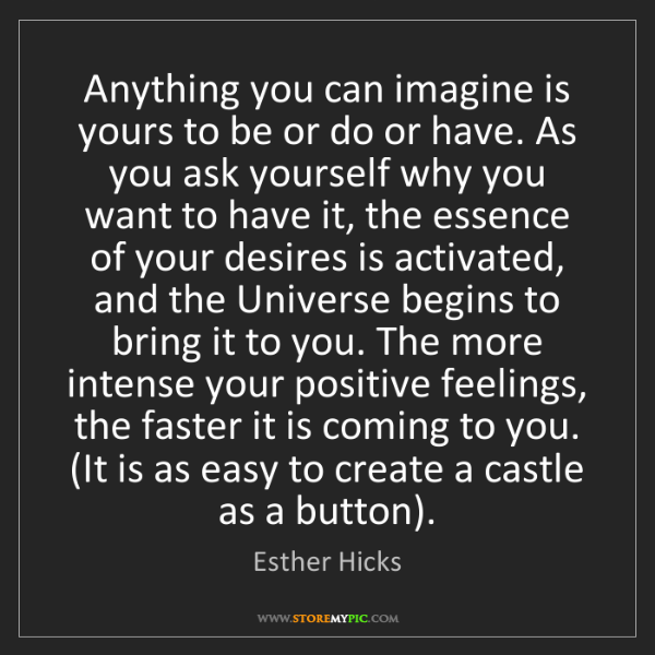 Esther Hicks: Anything you can imagine is yours to be or do or have....