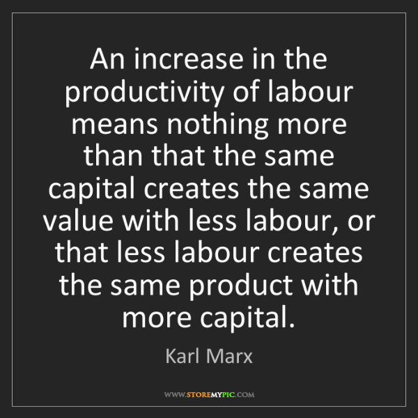Karl Marx: An increase in the productivity of labour means nothing...