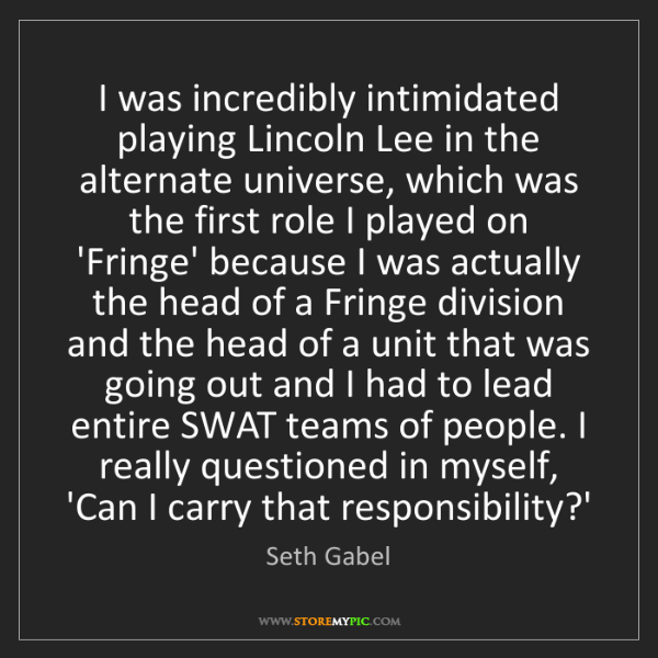 Seth Gabel: I was incredibly intimidated playing Lincoln Lee in the...