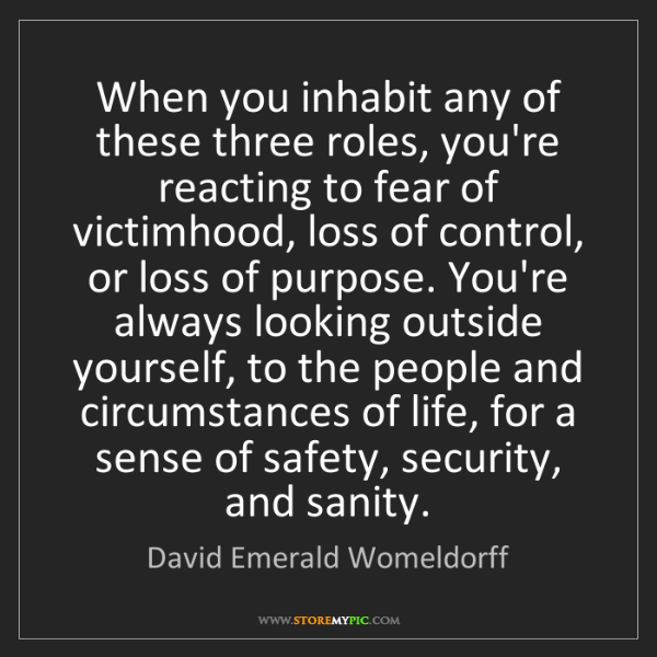 David Emerald Womeldorff: When you inhabit any of these three roles, you're reacting...