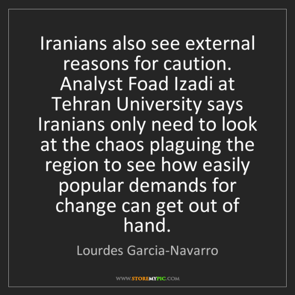 Lourdes Garcia-Navarro: Iranians also see external reasons for caution. Analyst...