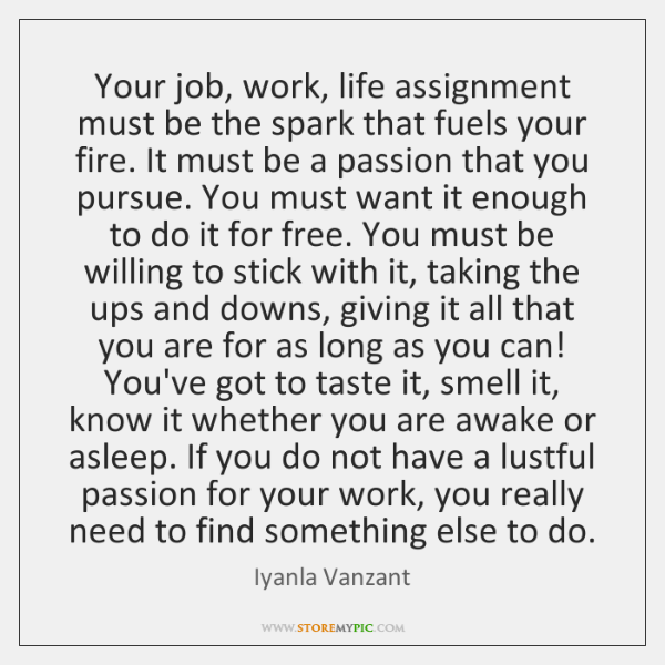 Your job, work, life assignment must be the spark that fuels your ...