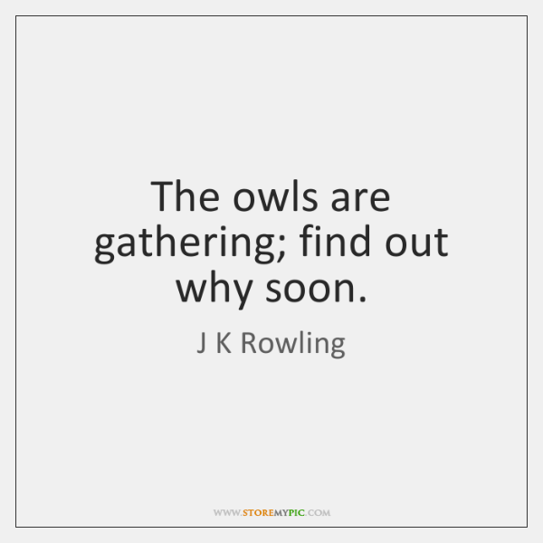 The owls are gathering; find out why soon.