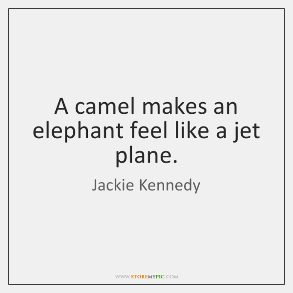A camel makes an elephant feel like a jet plane.