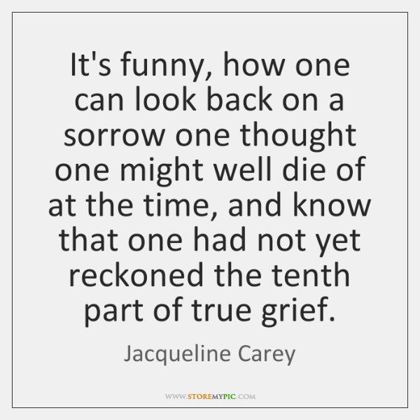 It's funny, how one can look back on a sorrow one thought ...
