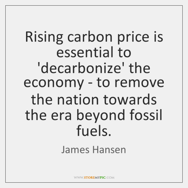 Rising carbon price is essential to 'decarbonize' the economy - to remove ...