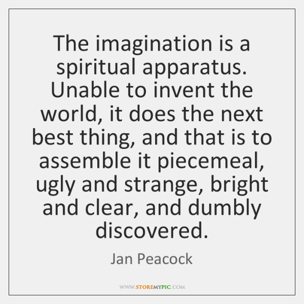 The imagination is a spiritual apparatus. Unable to invent the world, it ...