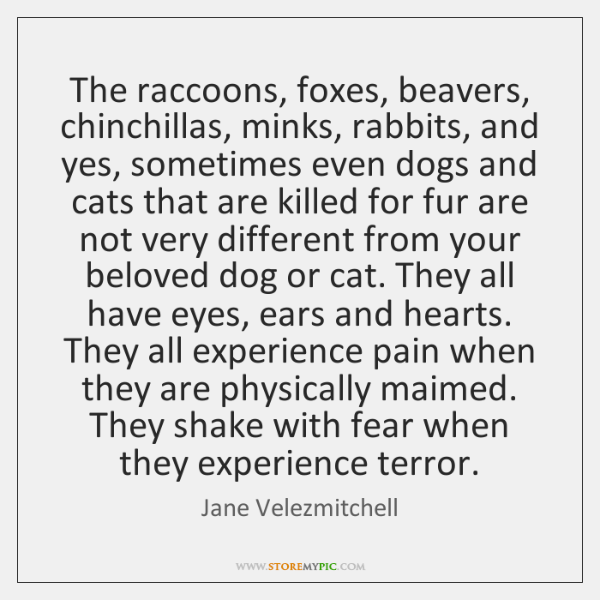 The raccoons, foxes, beavers, chinchillas, minks, rabbits, and yes, sometimes even dogs ...