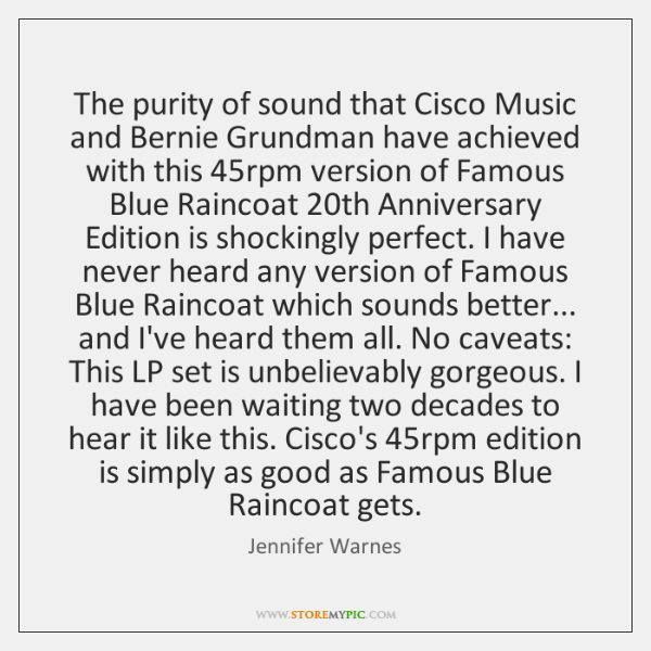 The purity of sound that Cisco Music and Bernie Grundman have achieved ...