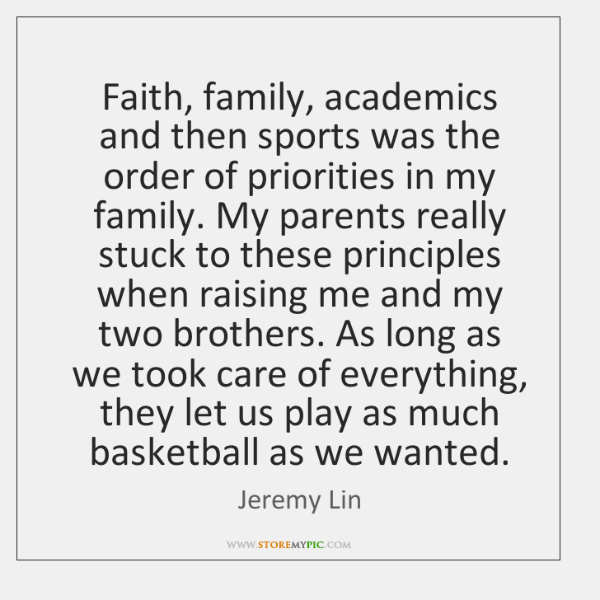 Faith, family, academics and then sports was the order of priorities in ...