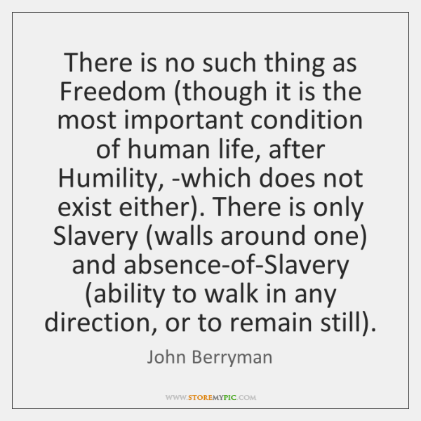 There is no such thing as Freedom (though it is the most ...