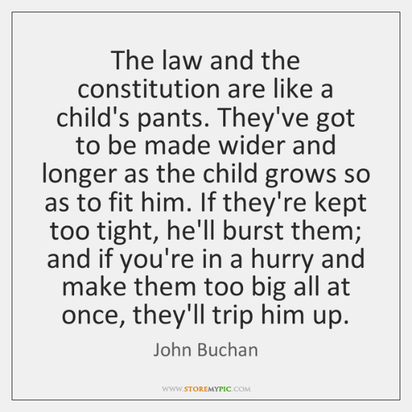 The law and the constitution are like a child's pants. They've got ...