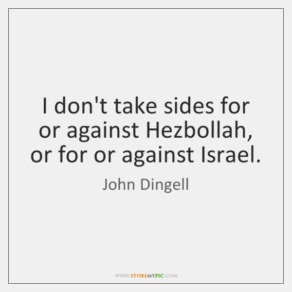 I don't take sides for or against Hezbollah, or for or against ...