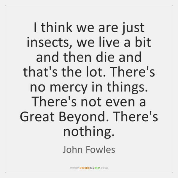 I think we are just insects, we live a bit and then ...