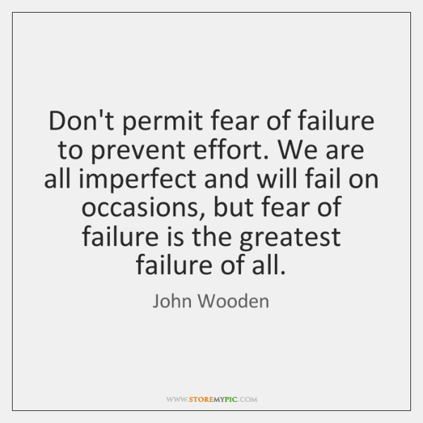 Don't permit fear of failure to prevent effort. We are all imperfect ...