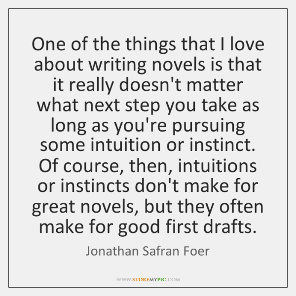 One of the things that I love about writing novels is that ...