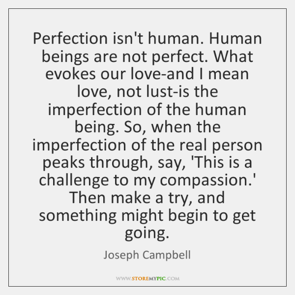 Perfection Isnt Human Human Beings Are Not Perfect What Evokes