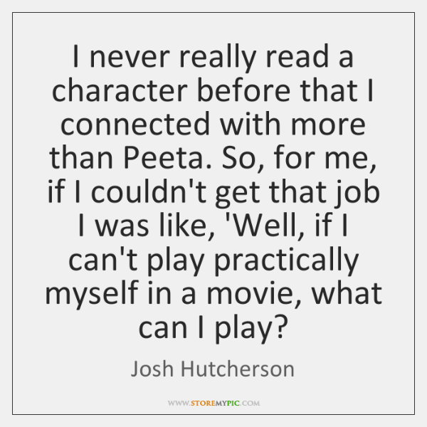 I never really read a character before that I connected with more ...
