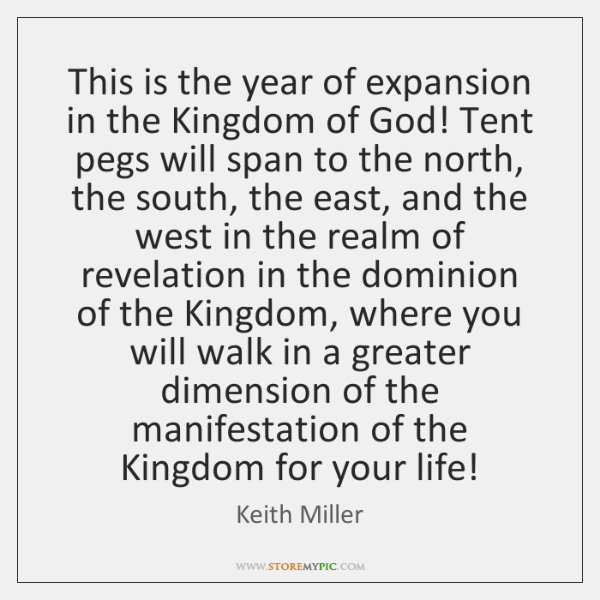 This is the year of expansion in the Kingdom of God! Tent ...