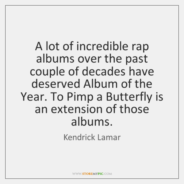 A lot of incredible rap albums over the past couple of decades ...