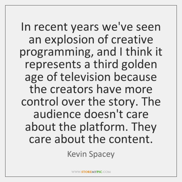 In recent years we've seen an explosion of creative programming, and I ...