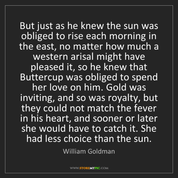 William Goldman: But just as he knew the sun was obliged to rise each...