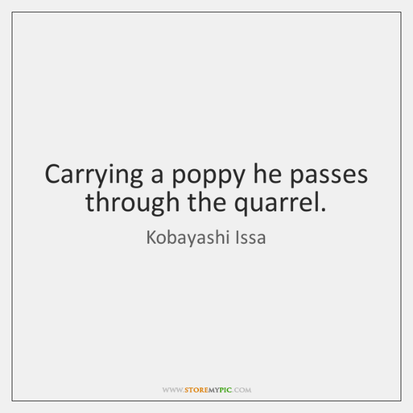 Carrying a poppy he passes through the quarrel.