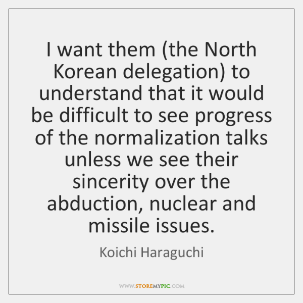 I want them (the North Korean delegation) to understand that it would ...