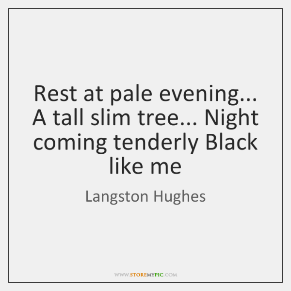 Rest at pale evening... A tall slim tree... Night coming tenderly Black ...