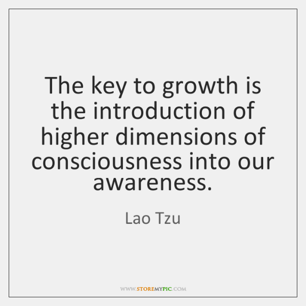 The key to growth is the introduction of higher dimensions of consciousness ...