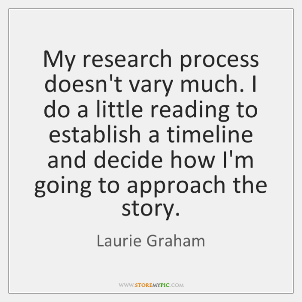 My research process doesn't vary much. I do a little reading to ...