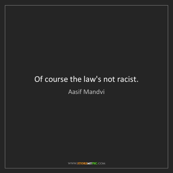 Aasif Mandvi: Of course the law's not racist.