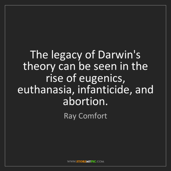 Ray Comfort: The legacy of Darwin's theory can be seen in the rise...