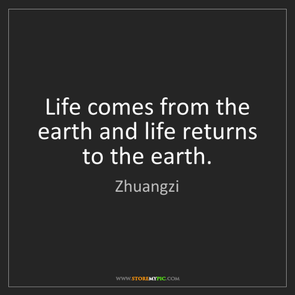 Zhuangzi: Life comes from the earth and life returns to the earth.