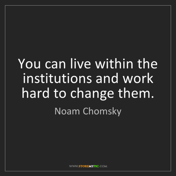 Noam Chomsky: You can live within the institutions and work hard to...